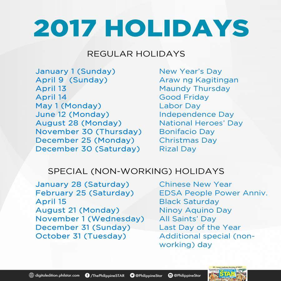 2017 holiday